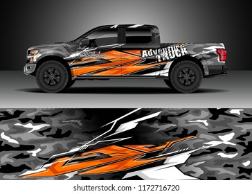 Pickup truck decal wrap design vector. Graphic abstract stripe racing modern camouflage background kit designs for wrap vehicle, race car, speed offroad, rally, adventure and livery