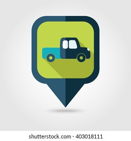 Pickup truck flat pin map icon. Map pointer. Map markers. Farm. Field. Transport. Vector illustration eps 10
