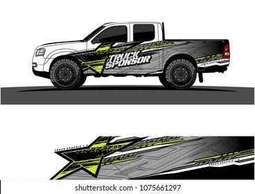 pickup truck graphic vector. abstract star shape with modern camouflage design for vehicle vinyl wrap