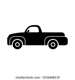Pickup truck icon. Black silhouette. Side view. Vector flat graphic illustration. The isolated object on a white background. Isolate.