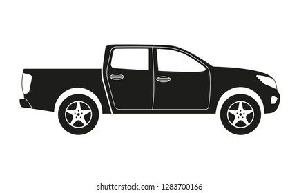 Pickup truck icon. Side view. Pick-up car or vehicle silhouette. Vector illustration.
