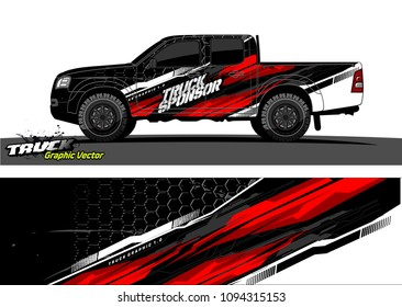 pickup Truck livery Graphic vector. abstract background design for vehicle vinyl wrap