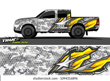 pickup Truck livery Graphic vector. grunge background design for vehicle vinyl wrap