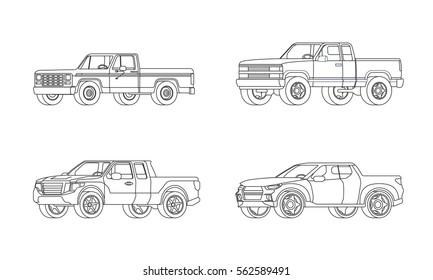 Pickup truck modern design models set in outline style on white background isolated vector illustration