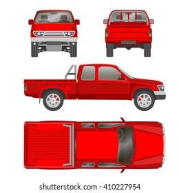 Pickup truck one half cab vector illustration blueprint