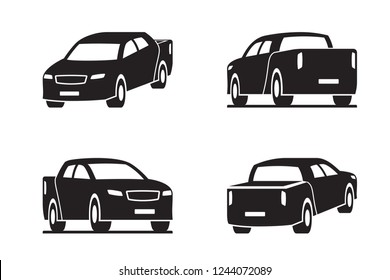 Pickup truck in perspective - vector illustration