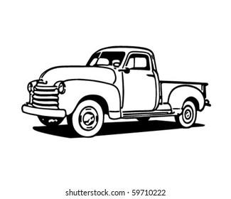 Pickup Truck - Retro Clip Art