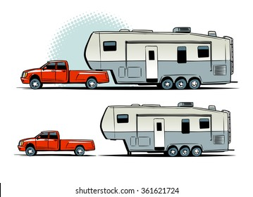 pickup truck with RV trailer. side view. illustration isolated on white background