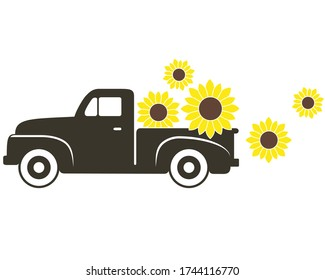 Pick-up Truck with Sunflowers Vector Illustration on White