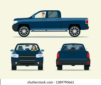 Pickup truck two angle set. Car with driver man side view, back view  and front view. Vector flat illustration
