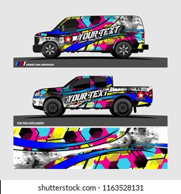 pickup Truck and van livery Graphic vector. grunge background design for vehicle decal vinyl wrap