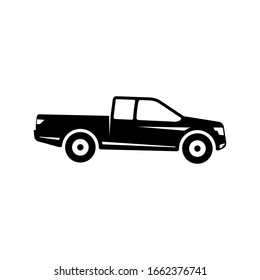 Pickup truck vector illustration. silhouette of pickup isolated on white background. pickup car icon sign symbol
