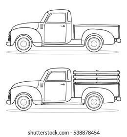 Pick-up truck. Vector outline doodle illustration