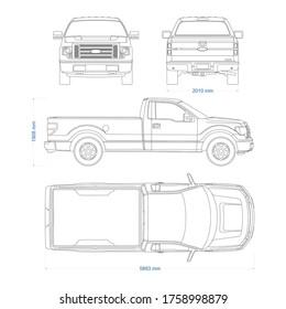 Pickup truck vector template. Truck blueprint. 4x4 car on white background. Mockup template for branding. Blank vehicle branding mockup.