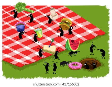 Picnic ants carry food like hamburger, sandwich, melon, donut, muffin and celery from a checkered blanket on a meadow