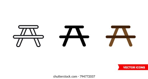 Picnic area icon of 3 types: color, black and white, outline. Isolated vector sign symbol.