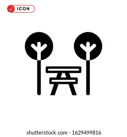 picnic area icon or logo isolated sign symbol vector illustration - high quality black style vector icons