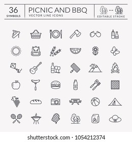 Picnic and barbecue web icon set. Black outline symbols for summer outdoor recreation theme. Vector collection of elements isolated on white background. Editable stroke - easy to adjust lines weight.