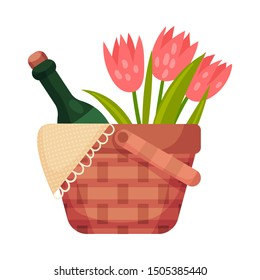 Picnic basket with a bottle and flowers. Vector illustration on a white background.