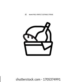 Picnic, picnic basket with bread and wine simple black line web icon vector illustration. Editable stroke. 48x48 Pixel Perfect.