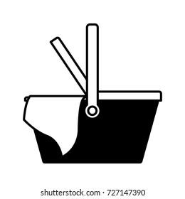 picnic basket icon in black silhouette vector illustration