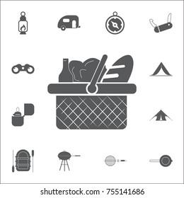 Picnic Basket Icon. Set of camping icons on white background