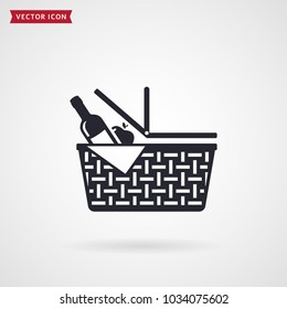 Picnic basket icon. Vector symbol isolated on white background.