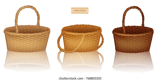 The picnic basket. Illustration of an empty basket bamboo. Vector illustration of a straw wicker basket. Isolated on white background. Empty decorative wicker basket with handle.