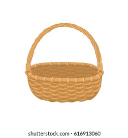 Picnic basket isolated on white background. Illustration of empty bamboo basket.