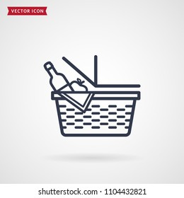 Picnic basket line icon. Vector outline symbol isolated on white background.