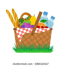 Picnic basket on grass. Vector illustration
