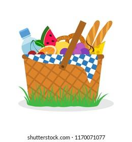 Picnic basket on grass. Vector illustration