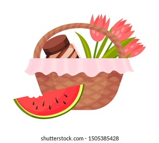 Picnic basket with peanut butter and flowers. Vector illustration on a white background.