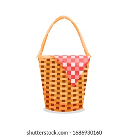Picnic basket vector isolated illustration. Checkered cloth bbq with family concept design.