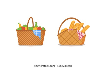 Picnic baskets full of food on a white background. The collection of picnic baskets is full of delicious fruits and bread for al fresco dining. Picnic Design Concept. Vector illustration, EPS 10