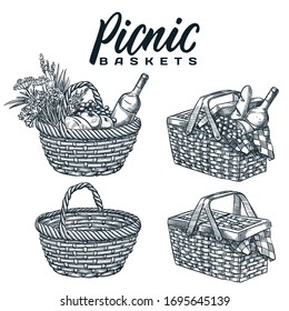 Picnic baskets set, isolated on white background. Vector hand drawn sketch illustration. Summer outdoor lunch, dinner design elements and calligraphy lettering. Pottle with wine, bread and snack food