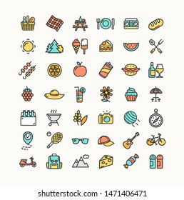 Picnic Color Thin Line Icon Set Include of Umbrella, Barbeque, Compass and Backpack. Vector illustration of Icons