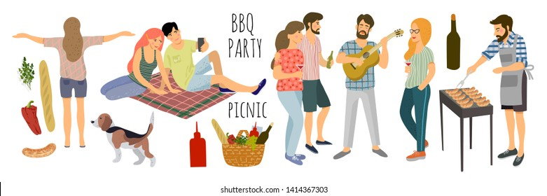 Picnic. Cute Vector illustration of isolated mans and womans resting on the nature on a white background. Drawing by hand active people weekend with a barbecue, food basket and dog