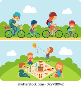 picnic family flat illustration