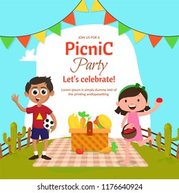 Picnic with family or friends concept with outdoor view and cheering characters of kids and food items.