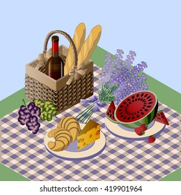 picnic with foods and drink, vector, isometry, isometric, picnic
