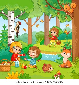 Picnic in the forest with children. Vector illustration with boy and girl who drink tea in cartoon style. Children in the forest among animals.