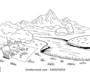 Picnic graphic black white landscape sketch illustration vector