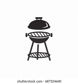 Picnic grill with lid vector icon isolated on white background