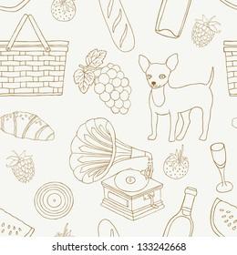 picnic hand drawn seamless pattern