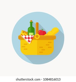 Picnic  icon. Basket full of food with wine bottle, cheese, bread, apple and checkered blanket. Modern flat design with long shadow. Colorful circle button. Vector illustration.