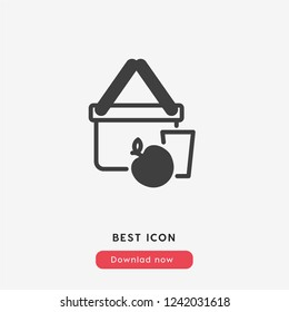 picnic icon vector. Picnic basket symbol.  Linear style sign for mobile concept and web design. picnic symbol logo illustration. vector graphics - Vector.