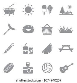 Picnic Icons. Gray Flat Design. Vector Illustration.