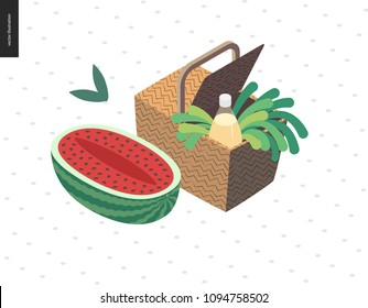 Picnic image - flat cartoon vector illustration of picnic wicker basket with lemonade bottle, white wine, greenery salad, green onion, grass, leaves, half of watermelon by the side - summer postcard