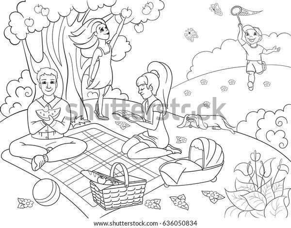 Picnic Nature Coloring Book Children Cartoon Stock Vector (Royalty ...